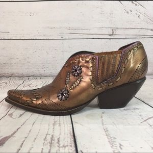 BCBGirls metallic bronze leather Cowboy bootie